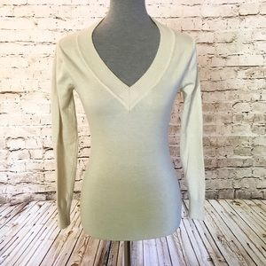 Poof V-Neck Sweater Cream Color Long Sleeve Medium